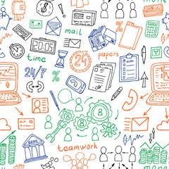 business doodles semless vector pattern