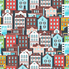 pattern with city buildings.