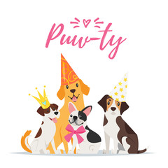 Dog Birthday party greeting card