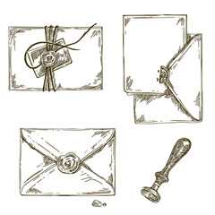 Set of vintage envelopes with seal. Engraving style. Vector illustration.