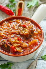 Goulash with beef. Hungarian cuisine.