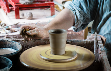 Pottery wheel and cup