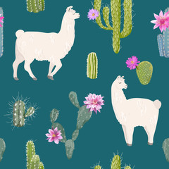 Llama and Cactus Seamless Pattern. Lamas Wildlife Nature Background for Fabric, Wallpaper, Wrapping Paper, Decoration. Vector illustration