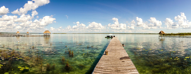 Bacalar lagoon in the Yucatan, Mexico.