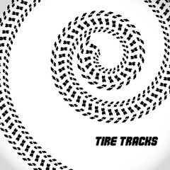 Tire track silhouette print. Speed banner. Spiral twisted track . Vector illustration EPS10.