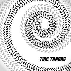 Tire track silhouette print. Speed banner. Cool bike poster. Vector illustration EPS10.