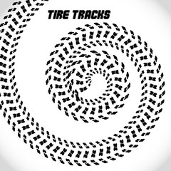 Tire track silhouette print. Speed banner. Street racing. Vector illustration EPS10.