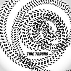 Tire track silhouette print. Speed banner. Grunge bike poster. Vector illustration EPS10.