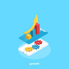 growing chart on the smartphone and gears inside, isometric image