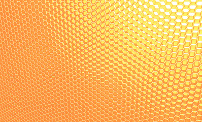 Macro, honeycomb. Background of orange, yellow hexagons