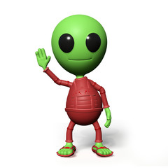 cute little alien cartoon character is waving his hand (3d illustration, isolated on white background)