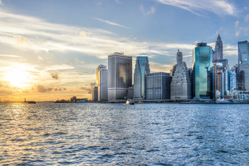 View of outside outdoors in NYC New York City Brooklyn Bridge Park by east river, cityscape skyline...