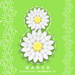 Vector 8 of March - International Women's Day green background from two vertical plant branches, silhouette of number 8 with flowers and text.