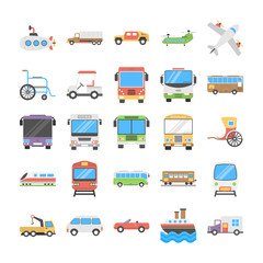 Transport Flat Icons Pack