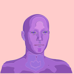 3d man head polygonal isolated vector illustration of outline
