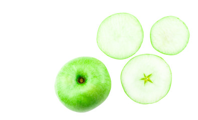 green apple slice isolated on a white background. Top view
