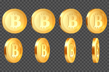 Set of 3d realistic golden metallic bitcoins, with rotate 10-80 degrees, isolated on transparent background. Vector illustration.
