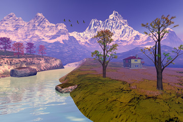 House next to the river, an autumn landscape, trees with red and yellow leaves, birds in the sky and snow on the peaks of mountains.
