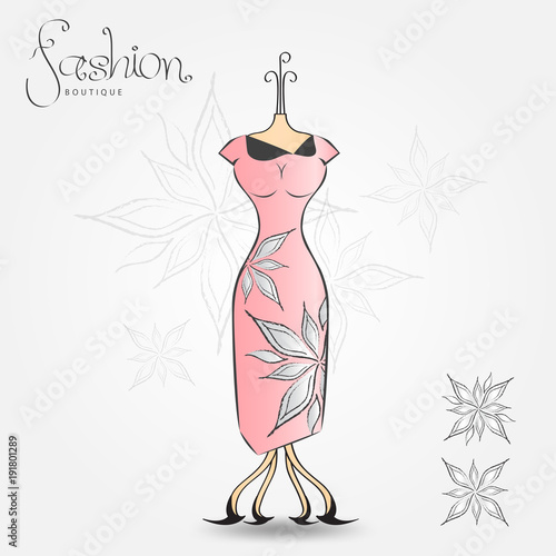 Fashion boutique evening dress vintage icon vector illustration fashion boutique evening dress vintage icon vector illustration fabric pattern for clothes pronofoot35fo Choice Image