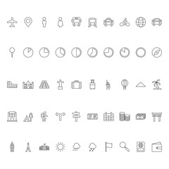 Set Of Travel Icon Outline Vector