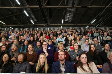 Audience members watch dogs compete in the Masters Agility Championship during the Westminster Kennel Club Dog Show