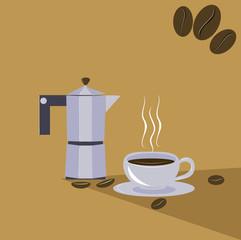 гейзерная кофеварка и чашка ароматного кофе