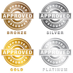 Bronze Silver Gold Platinum Approved Stamp Set