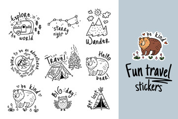 Big vector set of cartoon sticker for camping in outline