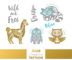 Metallic temporary tattoos. Gold, silver sugar skull hand drawn set