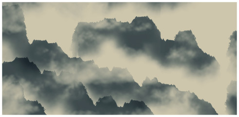 Chinese ink and water landscape painting