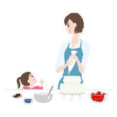 Illustration of parent and child making a cake.