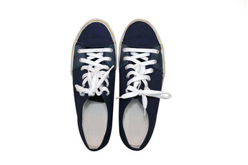 isolated top view of blue sneakers shoes