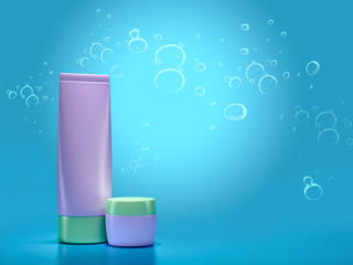 3d illustration of a tube for a cream on a blue background.
