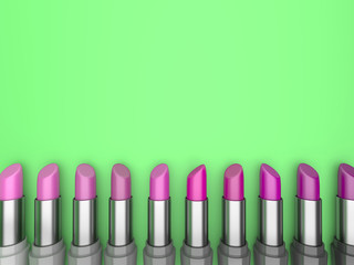 3d illustration set of lipstick with rose-colored hues on a green background.