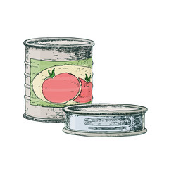 Canned goods for camping tourism, cartoon sketch illustration of travel equipment. Vector