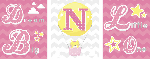 posters set of dream big little one slogan with baby cat and balloon with initial n. can be used for nursery art decor, newborn baby decoration and baby shower