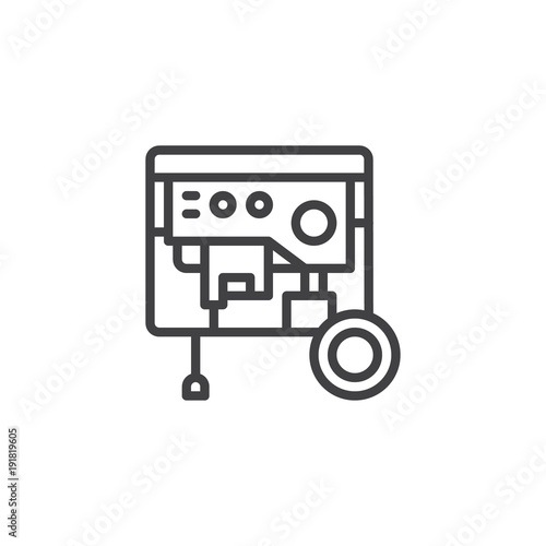 Portable power generator line icon, outline vector sign, linear ...