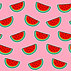Seamless pattern of watermelon slices on pink background.