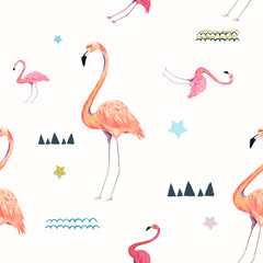 Canvas Prints Flamingo Abstract seamless pattern with flamingo. Summer tropical design. Hand drawn vector illustration