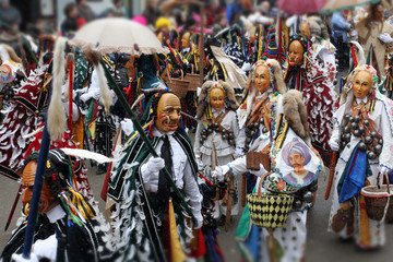 Carneval parade with traditional costumes in Rottweil, Germany