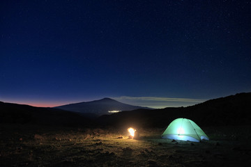 Wild Camp And Etna Volcano Under The Starry Sky At Dawn, Sicily