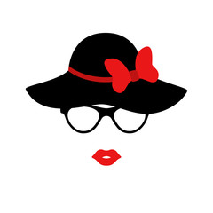 Retro lady in the black elegant hat with bow. Woman face. Boutique concept. Vector