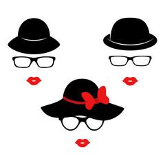 Retro ladies in the black elegant hats. Woman face. Boutique concept. Vector
