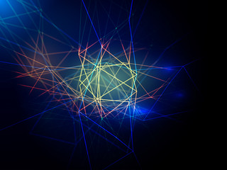 Vector Abstract digital lines technology and effects of multicolored lighting on a blue background
