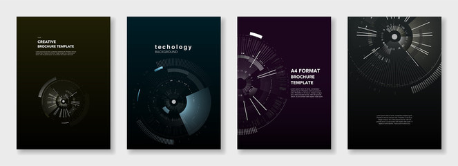 Minimal brochure templates. Circle elements on dark background. Technology sci-fi concept, abstract vector design. Templates for flyer, leaflet, brochure, report, presentation, advertising