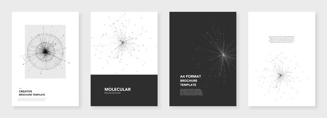 Minimal brochure templates. Molecule models on white background. Technology sci-fi or medical concept, abstract vector design. Templates for flyer, leaflet, brochure, report, presentation, advertising