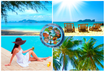 The holiday time, summer, beach, travel, vacation, sea concept