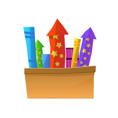 Cartoon Fireworks in Box Isolated on White Background. Full Box of Bright Pyrotechnics. Vector Illustration of Explosive Holiday Equipments for Christmas and New Year and Another Events.
