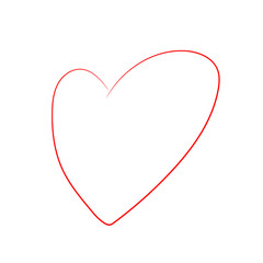 Vector Cartoon Heart Isolated on White Background. Simple Hand Drawn Red Line Art Heart. Symbol of Love. Valentines Day. Flat vector illustration.