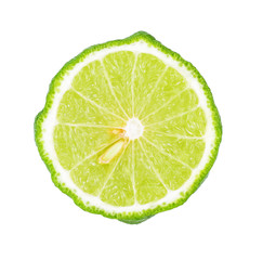 A half of bergamot fruit isolated on white background, Top view.